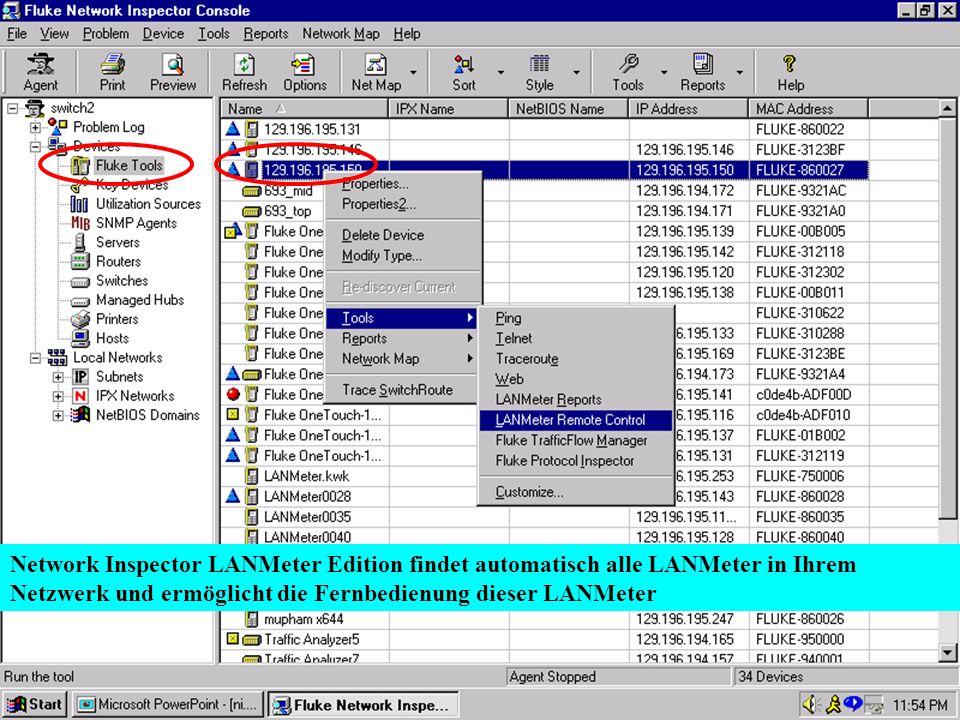 Karl Brand 05/2000 Switch Vision Suite 25 Network Inspector LANMeter Edition findet automatisch alle LANMeter in Ihrem Netzwerk und ermöglicht die Fer