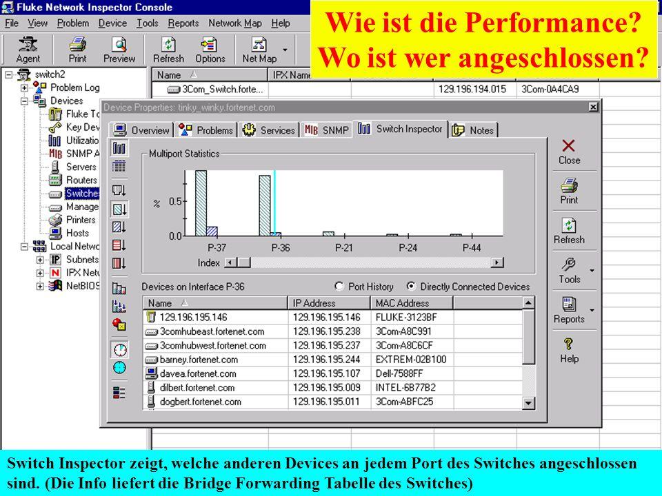 Karl Brand 05/2000 Switch Vision Suite 28 Switch Inspector zeigt, welche anderen Devices an jedem Port des Switches angeschlossen sind. (Die Info lief