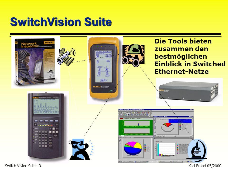 Karl Brand 05/2000 Switch Vision Suite 14 Agent p Problemlogging (Errors): p Duplicate IP, duplicated Netbios Name, incorrect Subnetz Maske, duplicated IPX network, out of Novell client license, Key device not responding, no Novell file server, Interface Utilisation >80%, Interface Error >1% (Schwellen einstellbar) p Problemlogging (Warnings): p Incorrect IP, Only device in domain, Only device in IPX, Novell client Lizenz kurz vor Ablauf, einziges Device das IPX Encapsulation nutzt, IPX-Service nicht erreichbar, Interface Auslastung >50%, SNMP Device rebooted p Problemlogging (Changes) p DNS change, IP change, Device not longer seen, Novell nearest file server not longer seen, new device, Router interface has gone, Router interface has come, NetBios changes, Service has gone ….