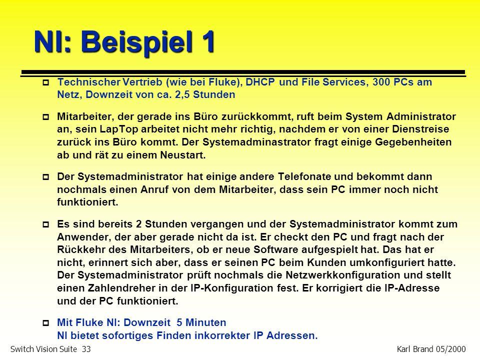 Karl Brand 05/2000 Switch Vision Suite 33 NI: Beispiel 1 p Technischer Vertrieb (wie bei Fluke), DHCP und File Services, 300 PCs am Netz, Downzeit von