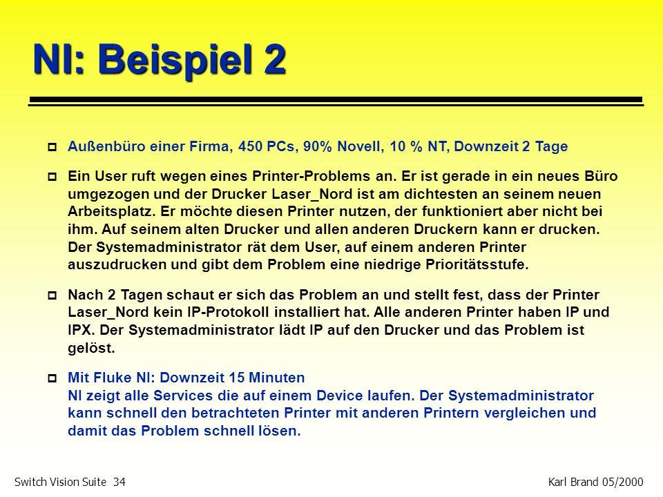 Karl Brand 05/2000 Switch Vision Suite 34 NI: Beispiel 2 p Außenbüro einer Firma, 450 PCs, 90% Novell, 10 % NT, Downzeit 2 Tage p Ein User ruft wegen