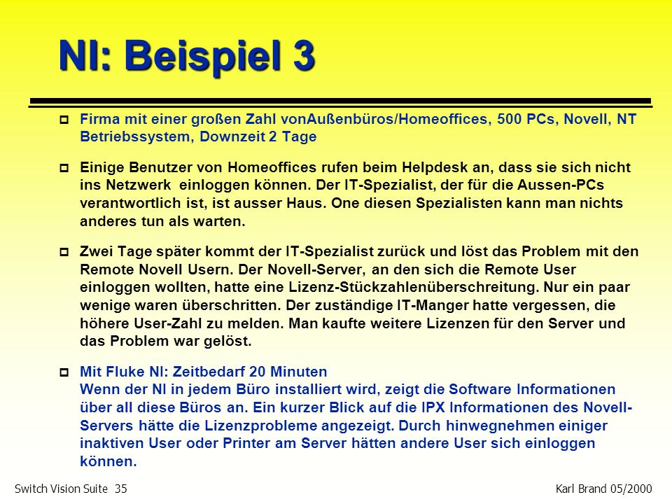 Karl Brand 05/2000 Switch Vision Suite 35 NI: Beispiel 3 p Firma mit einer großen Zahl vonAußenbüros/Homeoffices, 500 PCs, Novell, NT Betriebssystem,