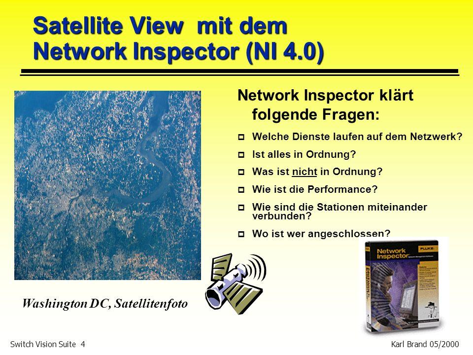 Karl Brand 05/2000 Switch Vision Suite 4 Satellite View mit dem Network Inspector (NI 4.0) Network Inspector klärt folgende Fragen: p Welche Dienste l