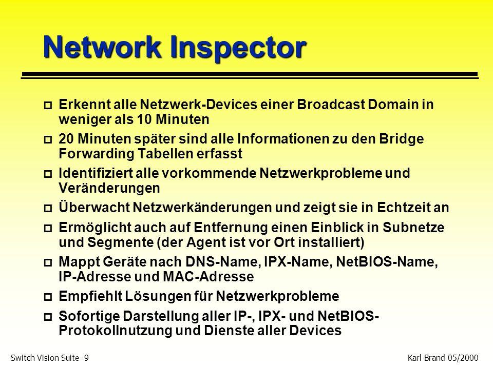 Karl Brand 05/2000 Switch Vision Suite 9 Network Inspector p Erkennt alle Netzwerk-Devices einer Broadcast Domain in weniger als 10 Minuten p 20 Minut