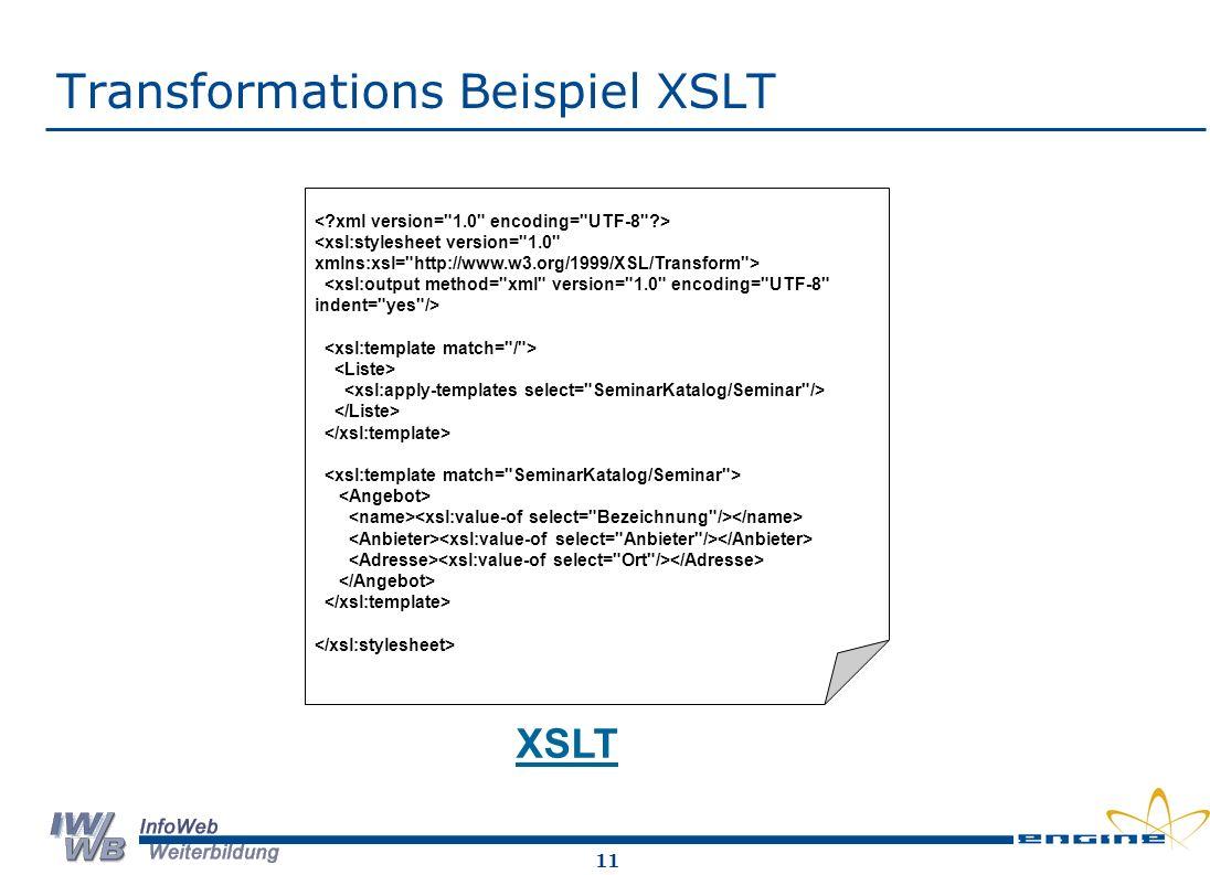 11 Transformations Beispiel XSLT XSLT
