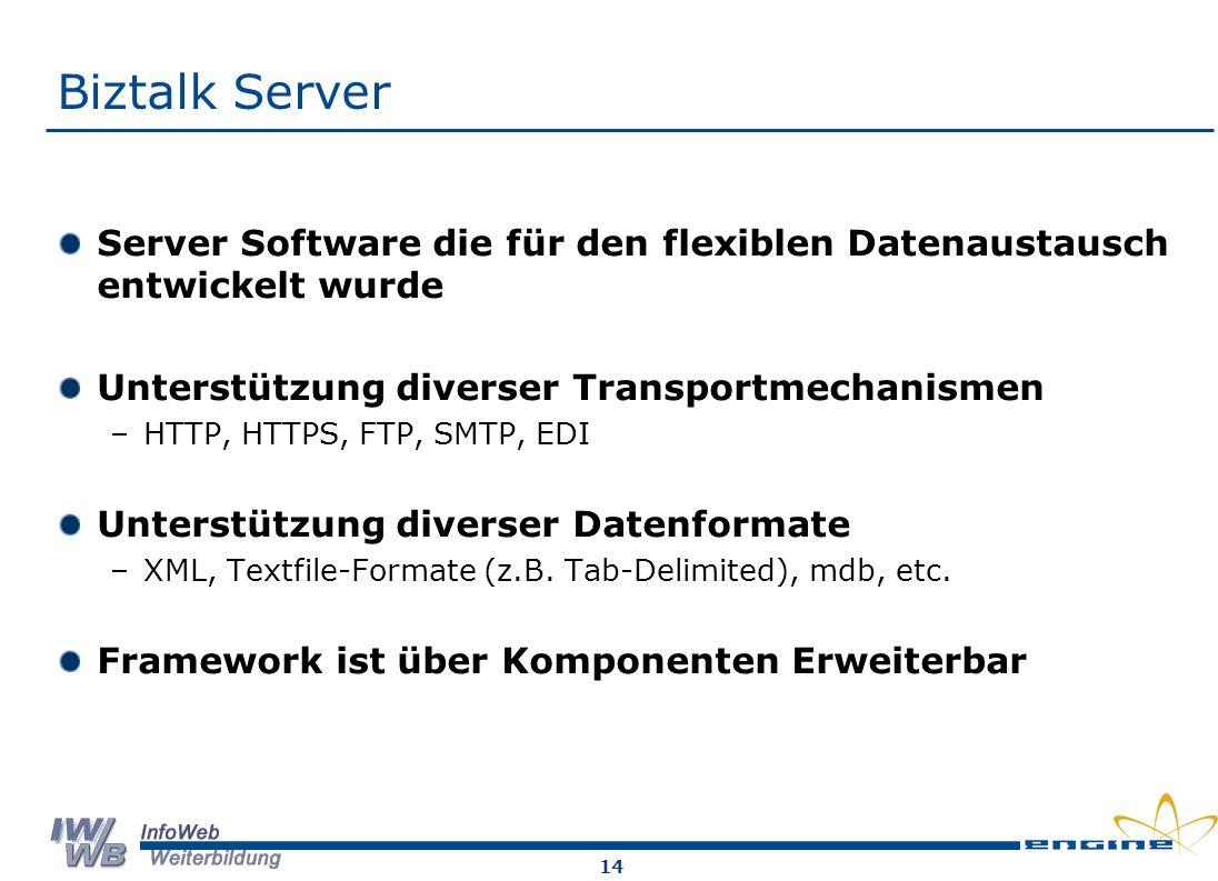 14 Biztalk Server Server Software die für den flexiblen Datenaustausch entwickelt wurde Unterstützung diverser Transportmechanismen –HTTP, HTTPS, FTP, SMTP, EDI Unterstützung diverser Datenformate –XML, Textfile-Formate (z.B.