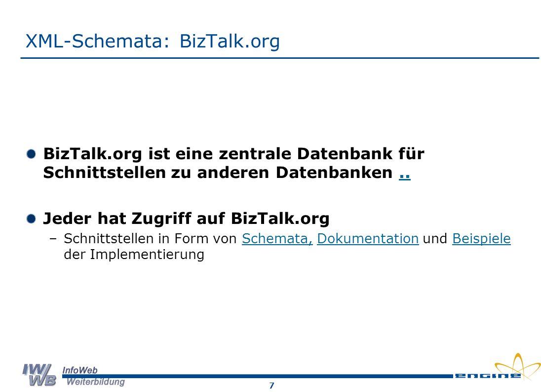 7 XML-Schemata: BizTalk.org BizTalk.org ist eine zentrale Datenbank für Schnittstellen zu anderen Datenbanken...