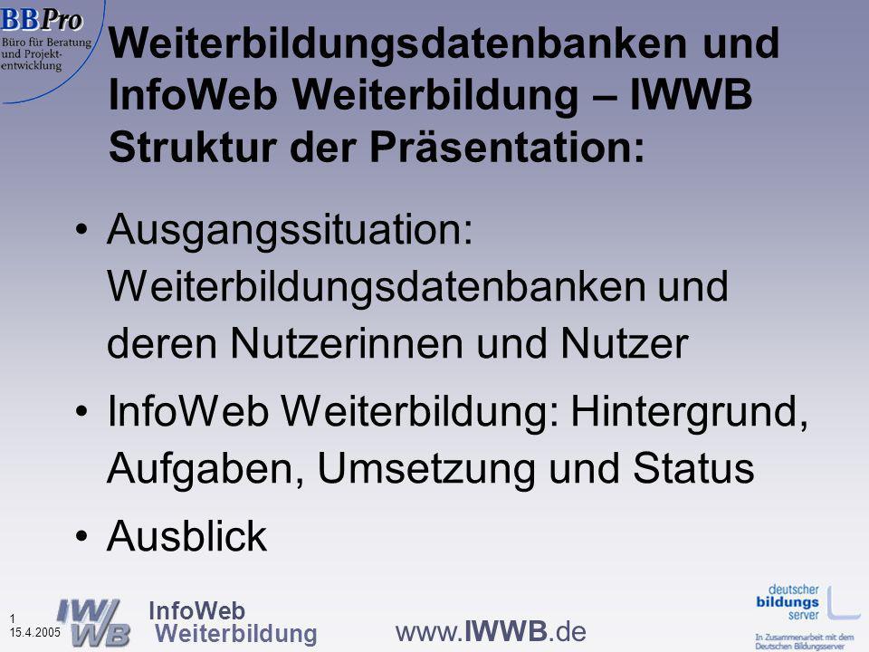 InfoWeb Weiterbildung 0 15.4.2005 www.IWWB.de Wolfgang Plum, BBPro, Hamburg www.IWWB.de Stresemannstr.