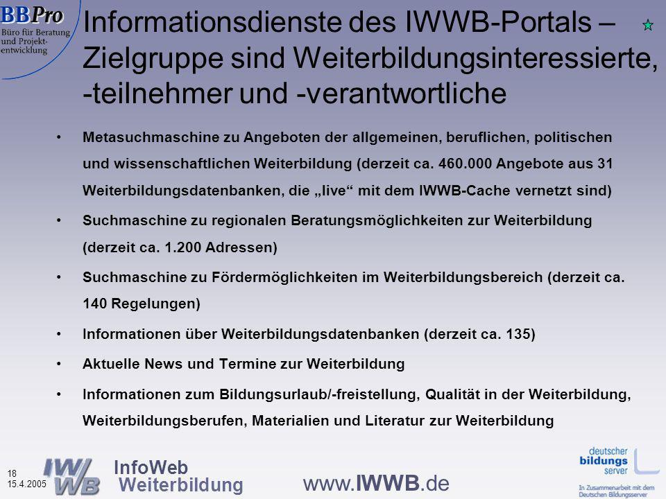 InfoWeb Weiterbildung 17 15.4.2005 www.IWWB.de Weiterbildungsportal www.IWWB.de