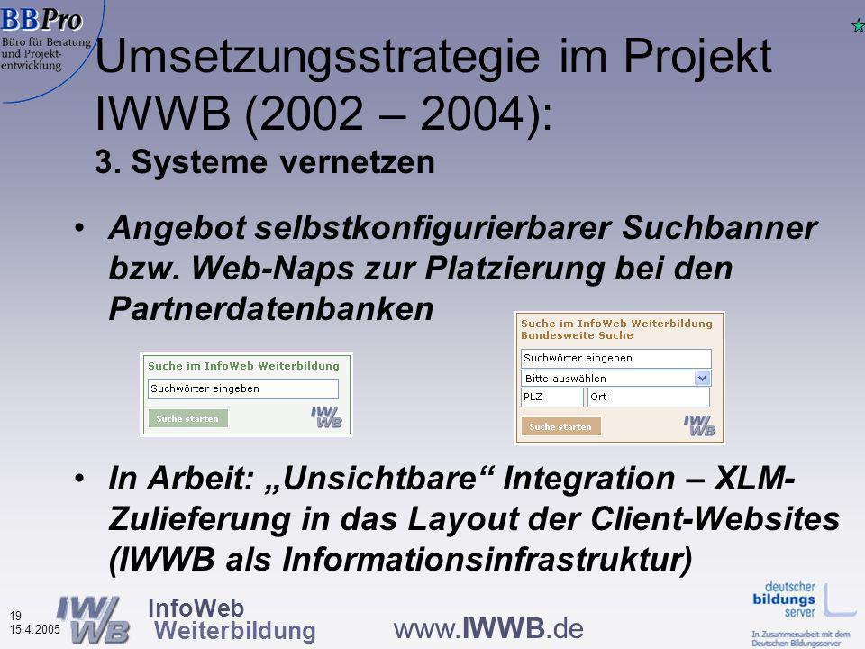 InfoWeb Weiterbildung 18 15.4.2005 www.IWWB.de Metasuchmaschine zu Angeboten der allgemeinen, beruflichen, politischen und wissenschaftlichen Weiterbildung (derzeit ca.