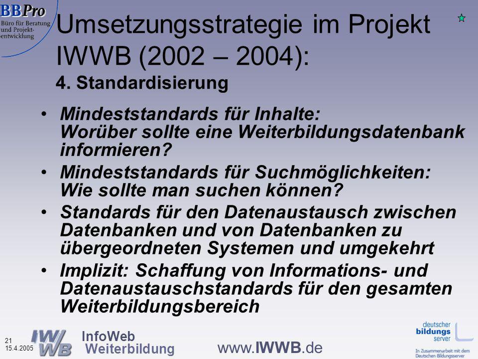 InfoWeb Weiterbildung 20 15.4.2005 www.IWWB.de