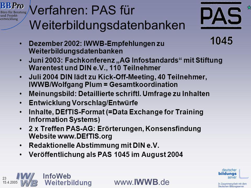 InfoWeb Weiterbildung 22 15.4.2005 www.IWWB.de Umsetzung: Erarbeitung einer DIN- PAS für Weiterbildungsdatenbanken Was ist eine PAS.
