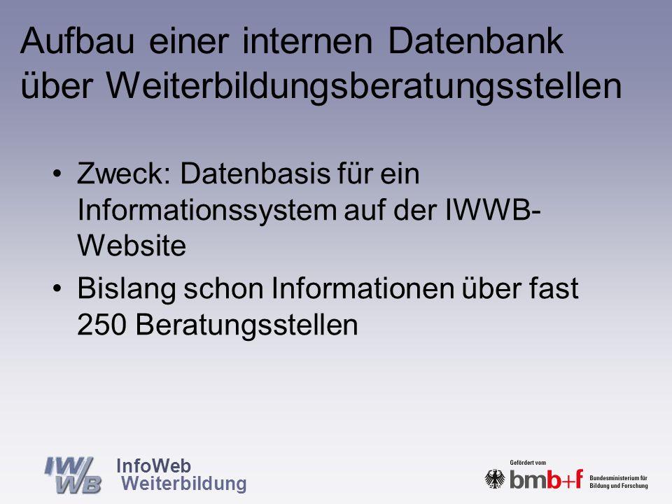 InfoWeb Weiterbildung Die nächsten Schritte Einrichtung von Arbeitsgruppen –Zunächst AG Mindeststandards für Informationen über Angebote und Anbieter – in Kooperation mit der Stiftung Warentest.