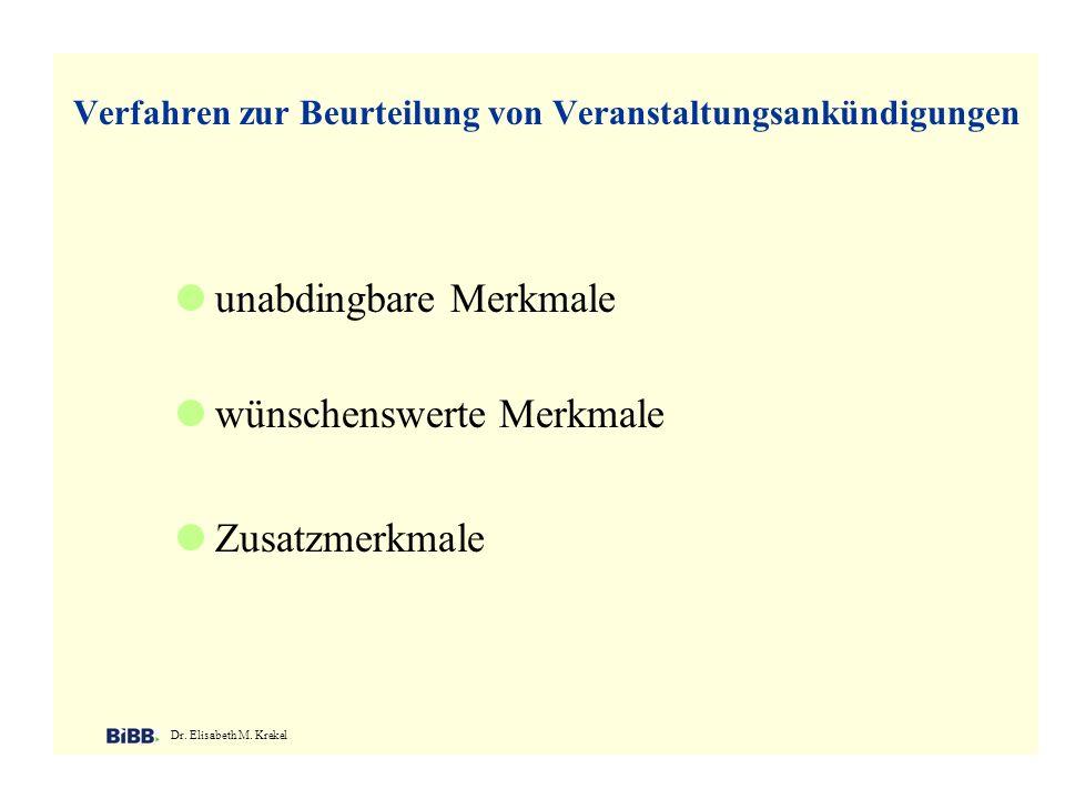 Verfahren zur Beurteilung von Veranstaltungsankündigungen Dr. Elisabeth M. Krekel unabdingbare Merkmale wünschenswerte Merkmale Zusatzmerkmale