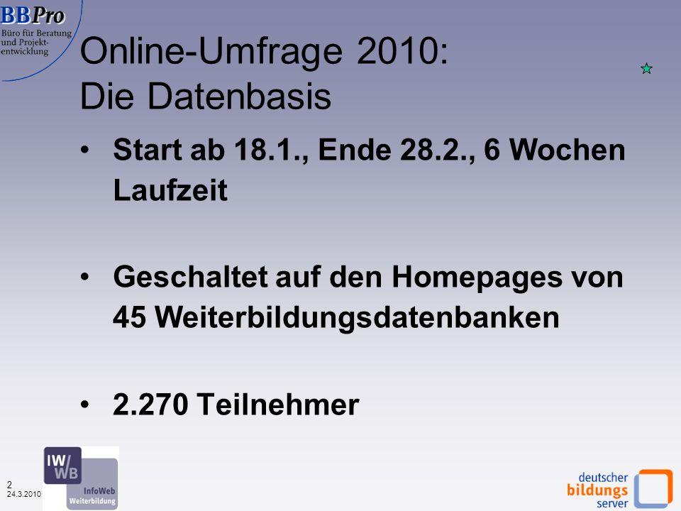 1 24.3.2010 Weiterbildungsinteresse: Visits regionaler und überregionaler Weiterbildungsdatenbanken Juli 2008 bis Februar 2010 (Dezember 2008 = 100) Q