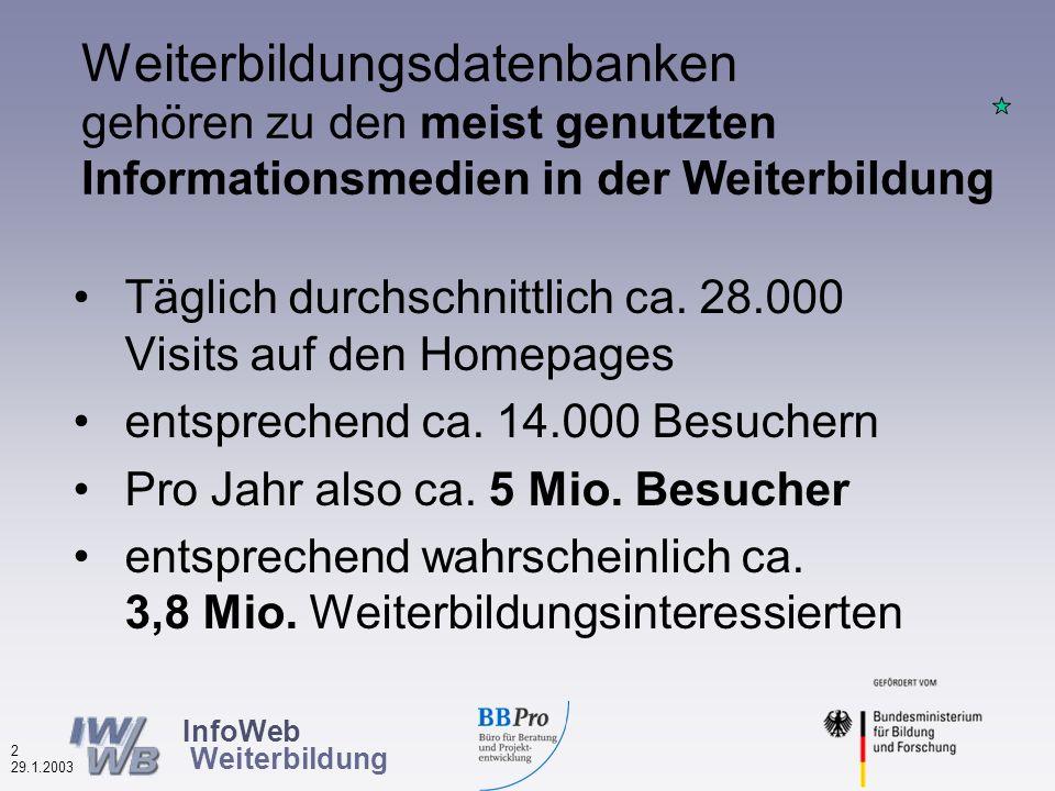 InfoWeb Weiterbildung 1 29.1.2003 In Deutschland sind aktuell (Januar 2003) ca.