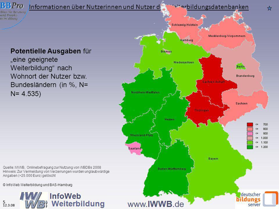 5 Potentielle Ausgaben für eine geeignete Weiterbildung nach Wohnort der Nutzer bzw. Bundesländern (in %, N= N= 4.535) © InfoWeb Weiterbildung und BAS