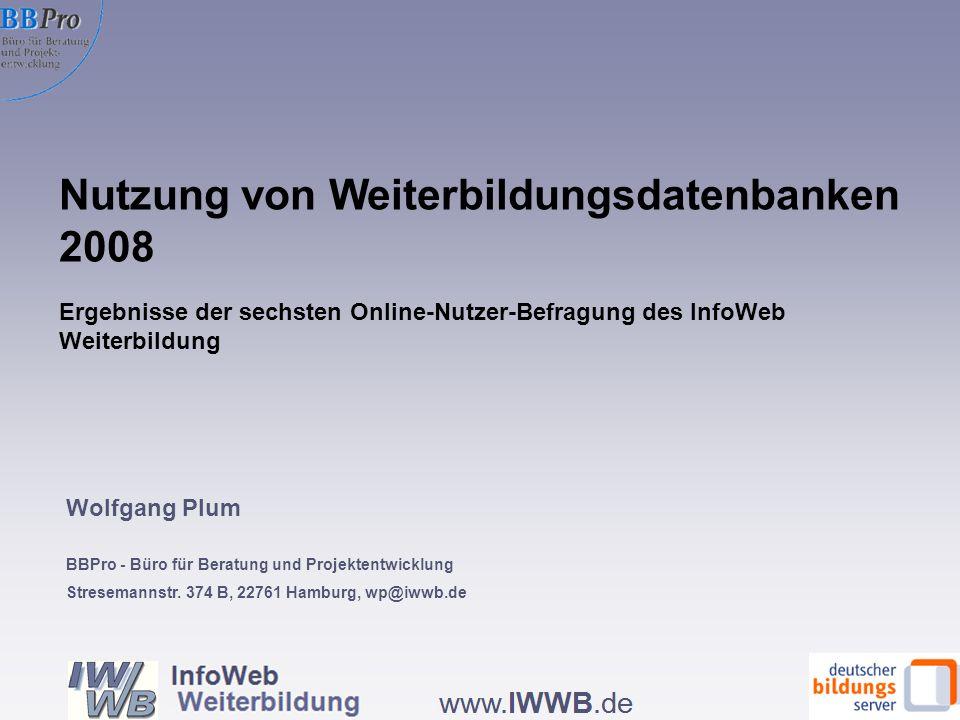 Die Infos aus der Datenbank haben meine Planungen wesentlich voran gebracht, nach Datenbanktyp (in %, N=4.793) Wie bisher: Höchster Planungsnutzen bei den regionalen Datenbanken Quelle: IWWB, Onlinebefragung zur Nutzung von WBDBs 2008 Effekte der Datenbanknutzung auf das Weiterbildungsverhalten 12.3.08 32