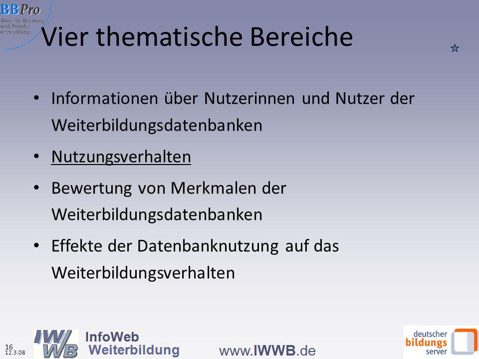 Vier thematische Bereiche Informationen über Nutzerinnen und Nutzer der Weiterbildungsdatenbanken Nutzungsverhalten Bewertung von Merkmalen der Weiterbildungsdatenbanken Effekte der Datenbanknutzung auf das Weiterbildungsverhalten 16 12.3.08