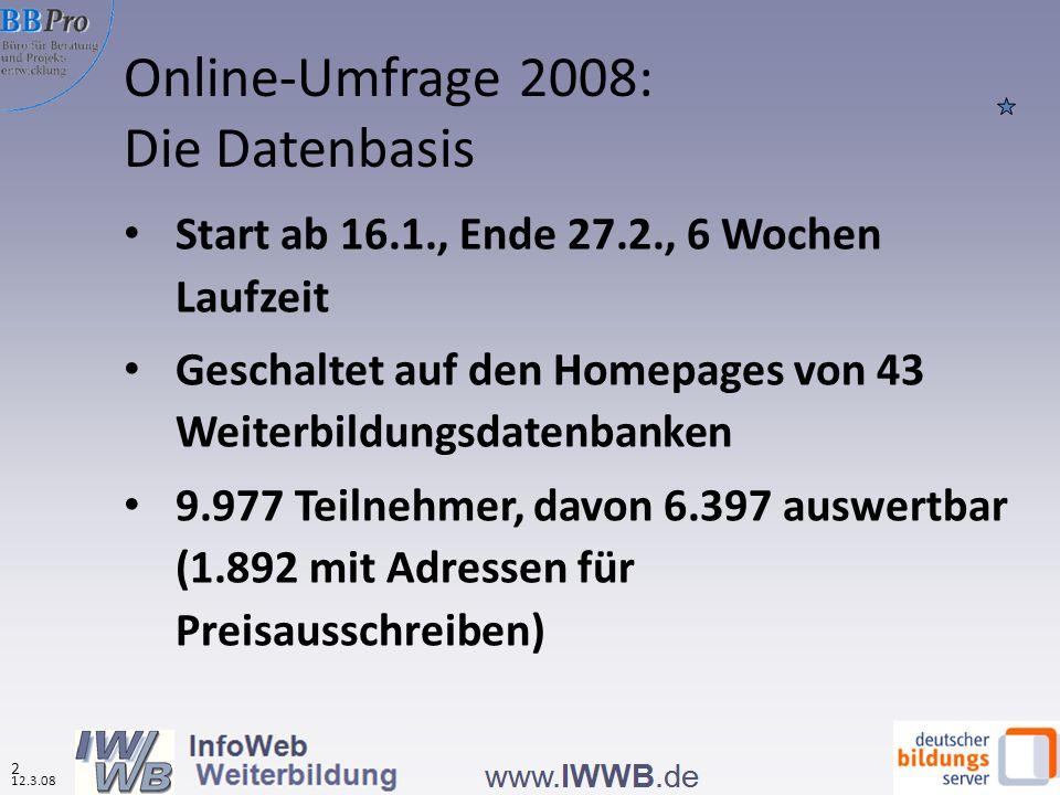 Teilnahme an Weiterbildung aufgrund von Informationen aus Weiterbildungsdatenbanken nach Datenbanktypen (in %, N=5.817) Erneut stärkster Marketingeffekt bei den regionalen Datenbanken Quelle: IWWB, Onlinebefragung zur Nutzung von WBDBs 2008 Effekte der Datenbanknutzung auf das Weiterbildungsverhalten 12.3.08 33