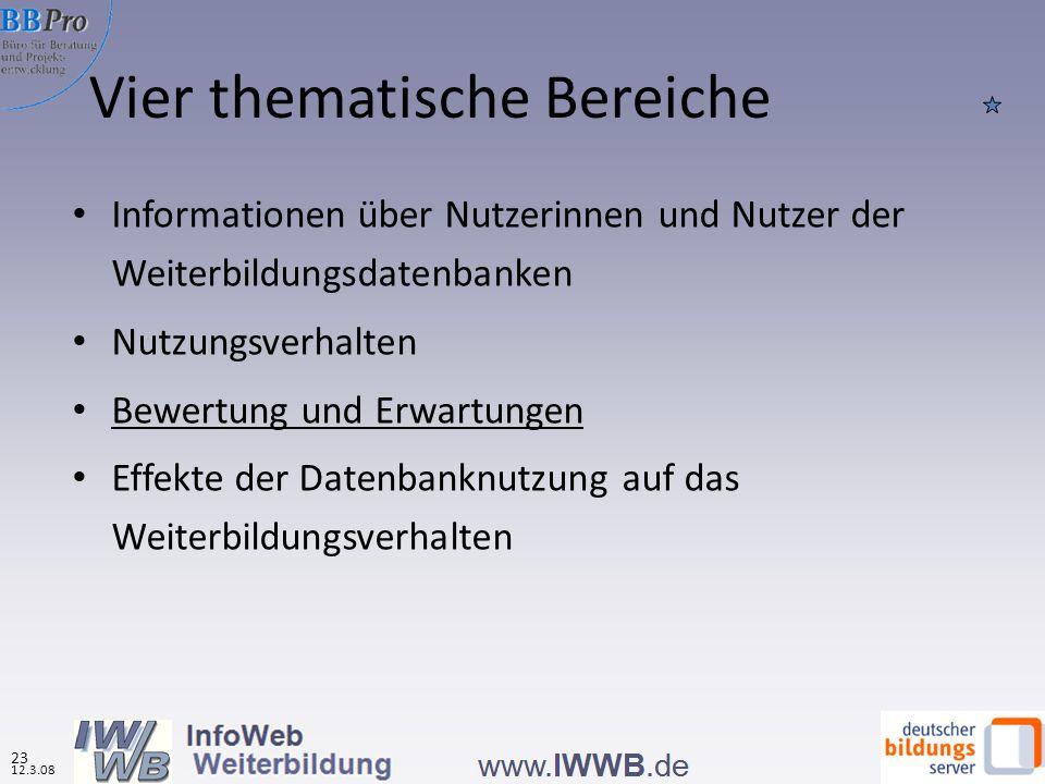Vier thematische Bereiche Informationen über Nutzerinnen und Nutzer der Weiterbildungsdatenbanken Nutzungsverhalten Bewertung und Erwartungen Effekte der Datenbanknutzung auf das Weiterbildungsverhalten 12.3.08 23