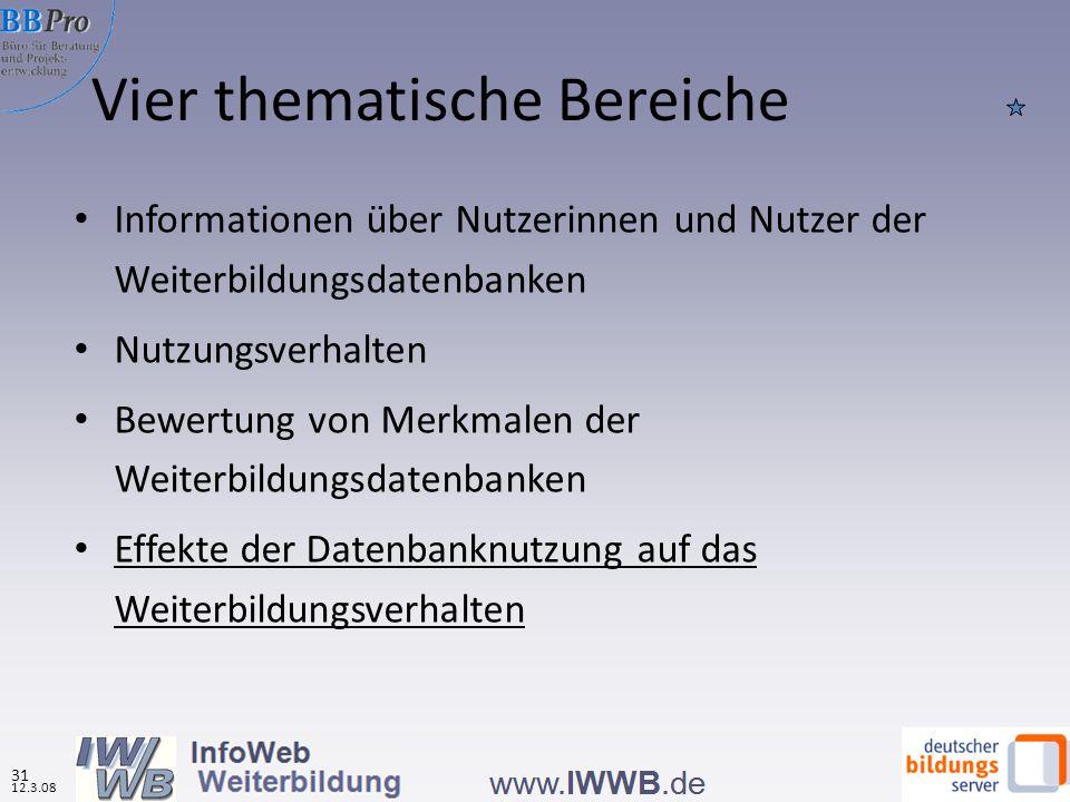 Vier thematische Bereiche Informationen über Nutzerinnen und Nutzer der Weiterbildungsdatenbanken Nutzungsverhalten Bewertung von Merkmalen der Weiterbildungsdatenbanken Effekte der Datenbanknutzung auf das Weiterbildungsverhalten 12.3.08 31
