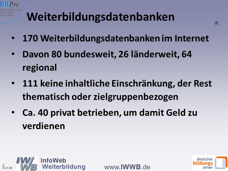 Weiterbildungsdatenbanken 2 13.3.08 170 Weiterbildungsdatenbanken im Internet Davon 80 bundesweit, 26 länderweit, 64 regional 111 keine inhaltliche Ei