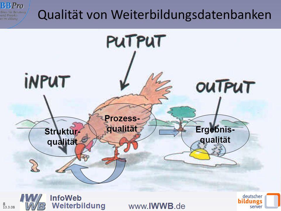 Struktur- qualität Prozess- qualität Ergebnis- qualität Qualität von Weiterbildungsdatenbanken 13.3.08 8