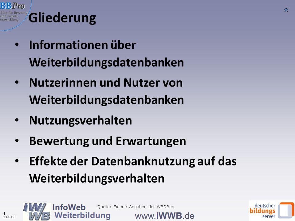 11.6.08 0 Weiterbildungsdatenbanken: Instrumente des Bildungsmarketings? Ergebnisse der 6. Online-Umfrage des InfoWeb Weiterbildung 2008 BBPro - Büro