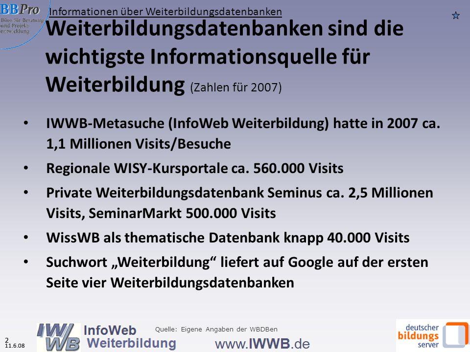 11.6.08 1 Gliederung 1 11.6.08 Informationen über Weiterbildungsdatenbanken Nutzerinnen und Nutzer von Weiterbildungsdatenbanken Nutzungsverhalten Bew