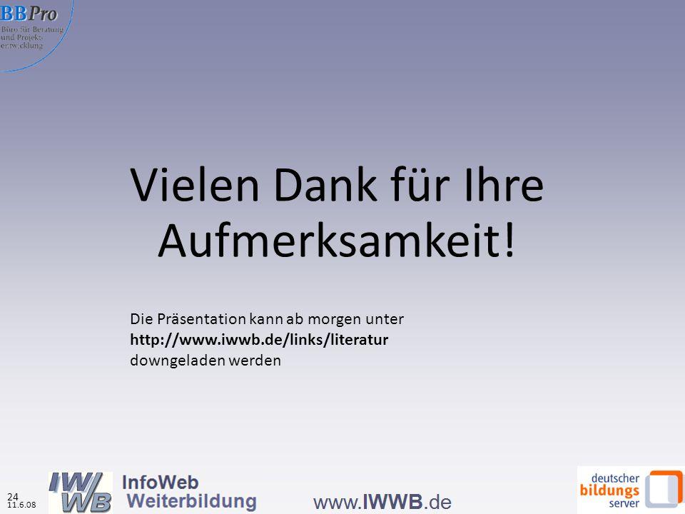 Teilnahme an Weiterbildung aufgrund von Informationen aus Weiterbildungsdatenbanken nach Datenbanktypen (in %, N=5.817) Stärkster Marketingeffekt bei den regionalen Datenbanken Quelle: IWWB, Onlinebefragung zur Nutzung von WBDBs 2008 Effekte der Datenbanknutzung auf das Weiterbildungsverhalten 12.3.08 23