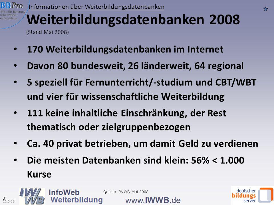 11.6.08 2 Weiterbildungsdatenbanken sind die wichtigste Informationsquelle für Weiterbildung (Zahlen für 2007) 2 11.6.08 IWWB-Metasuche (InfoWeb Weiterbildung) hatte in 2007 ca.