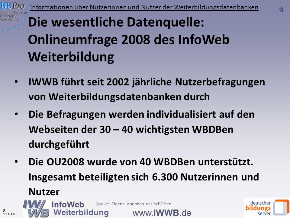 11.6.08 7 Gliederung 7 11.6.08 Informationen über Weiterbildungsdatenbanken Informationen über Nutzerinnen und Nutzer der Weiterbildungsdatenbanken Nutzungsverhalten Bewertung und Erwartungen Effekte der Datenbanknutzung auf das Weiterbildungsverhalten Quelle: Eigene Angaben der WBDBen