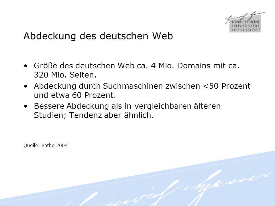 Abdeckung des deutschen Web Größe des deutschen Web ca.