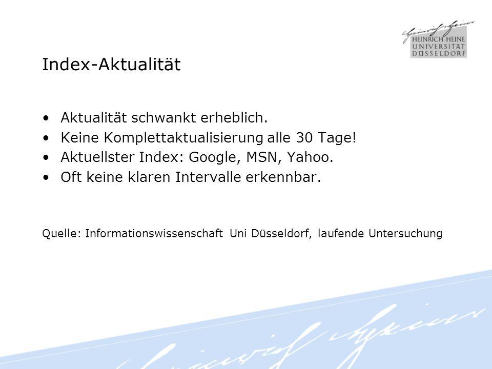 Index-Aktualität Aktualität schwankt erheblich. Keine Komplettaktualisierung alle 30 Tage.