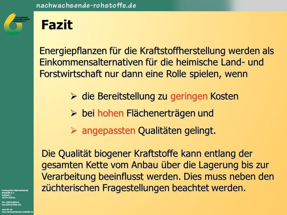 Fachagentur Nachwachsende Rohstoffe e.V. Hofplatz 1 18276 Gülzow Tel. 03843/6930-0 Fax 03843/6930-102 www.fnr.de www.nachwachsende-rohstoffe.de Fazit