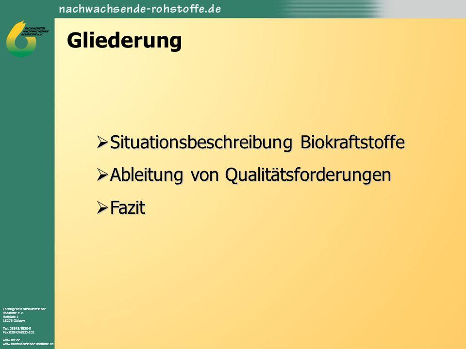 Fachagentur Nachwachsende Rohstoffe e.V. Hofplatz 1 18276 Gülzow Tel. 03843/6930-0 Fax 03843/6930-102 www.fnr.de www.nachwachsende-rohstoffe.de Gliede