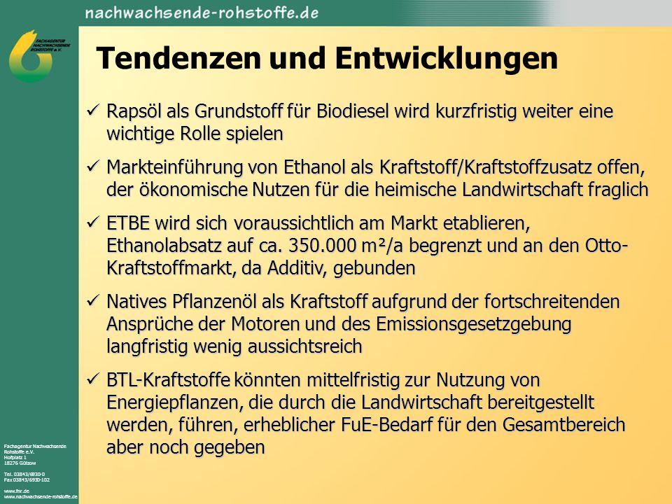 Fachagentur Nachwachsende Rohstoffe e.V. Hofplatz 1 18276 Gülzow Tel. 03843/6930-0 Fax 03843/6930-102 www.fnr.de www.nachwachsende-rohstoffe.de Tenden