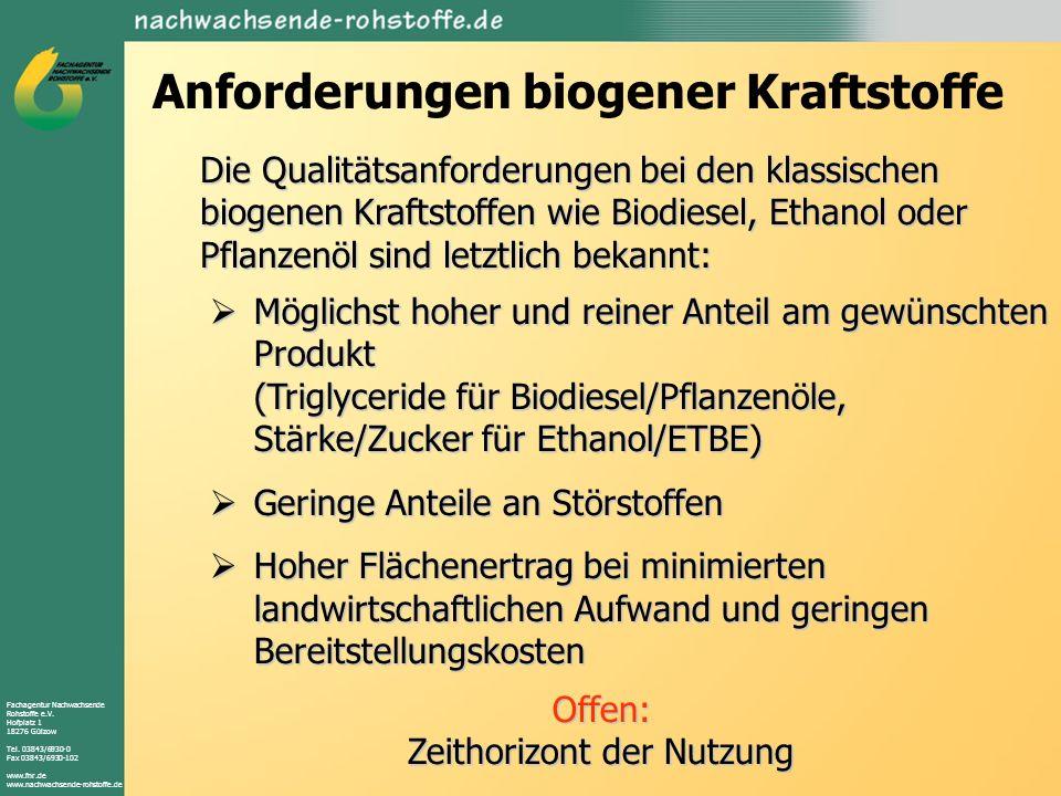 Fachagentur Nachwachsende Rohstoffe e.V. Hofplatz 1 18276 Gülzow Tel. 03843/6930-0 Fax 03843/6930-102 www.fnr.de www.nachwachsende-rohstoffe.de Anford