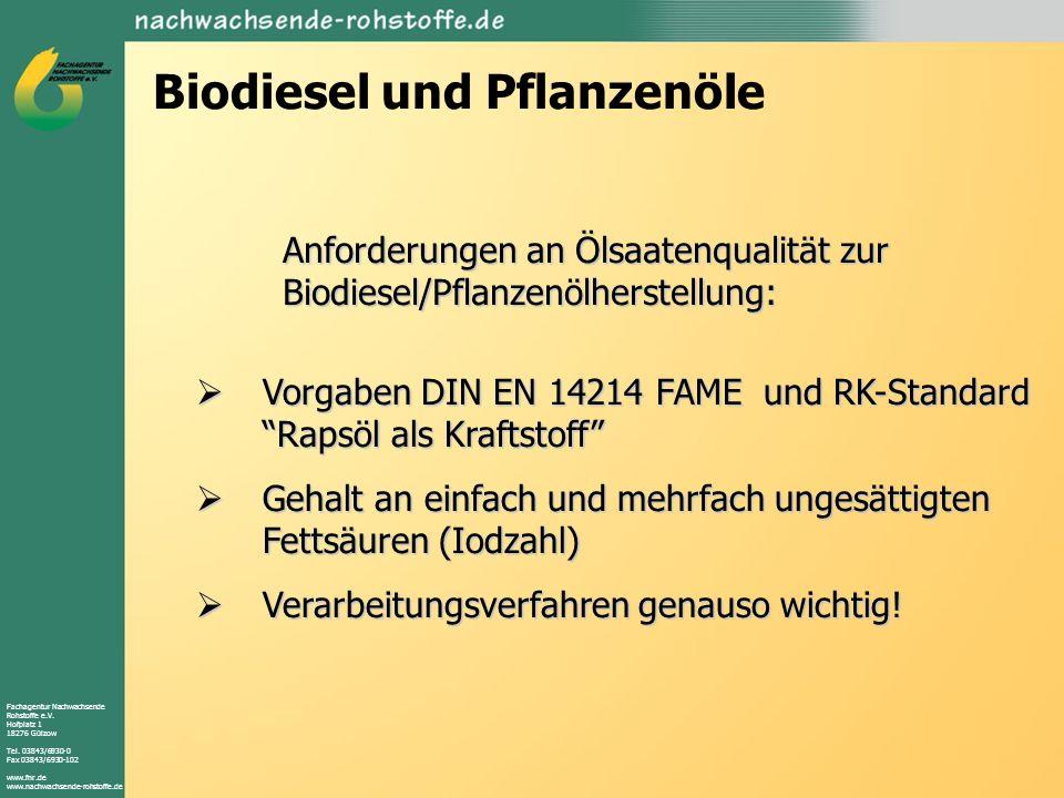 Fachagentur Nachwachsende Rohstoffe e.V. Hofplatz 1 18276 Gülzow Tel. 03843/6930-0 Fax 03843/6930-102 www.fnr.de www.nachwachsende-rohstoffe.de Biodie