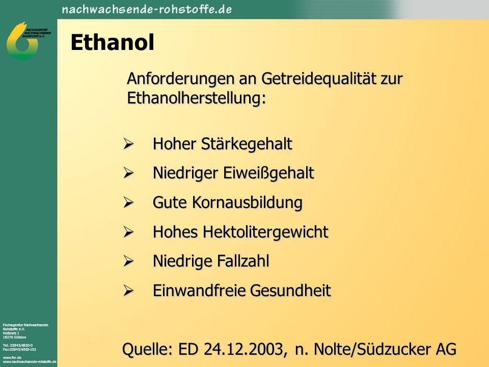 Fachagentur Nachwachsende Rohstoffe e.V. Hofplatz 1 18276 Gülzow Tel. 03843/6930-0 Fax 03843/6930-102 www.fnr.de www.nachwachsende-rohstoffe.de Ethano