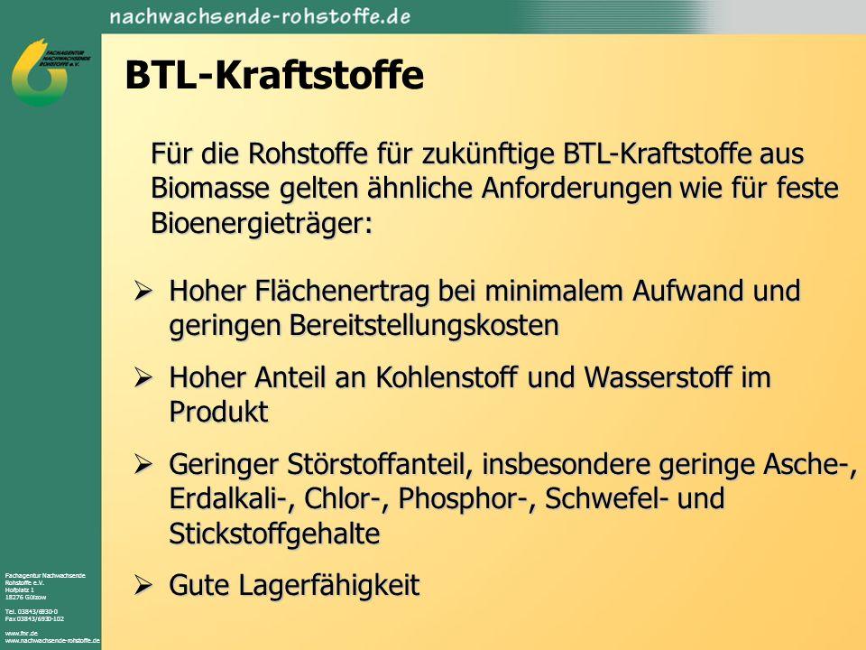 Fachagentur Nachwachsende Rohstoffe e.V. Hofplatz 1 18276 Gülzow Tel. 03843/6930-0 Fax 03843/6930-102 www.fnr.de www.nachwachsende-rohstoffe.de BTL-Kr