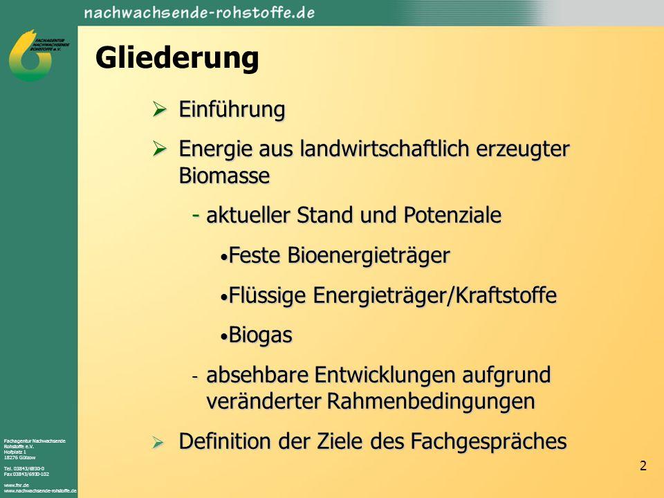 Fachagentur Nachwachsende Rohstoffe e.V. Hofplatz 1 18276 Gülzow Tel.