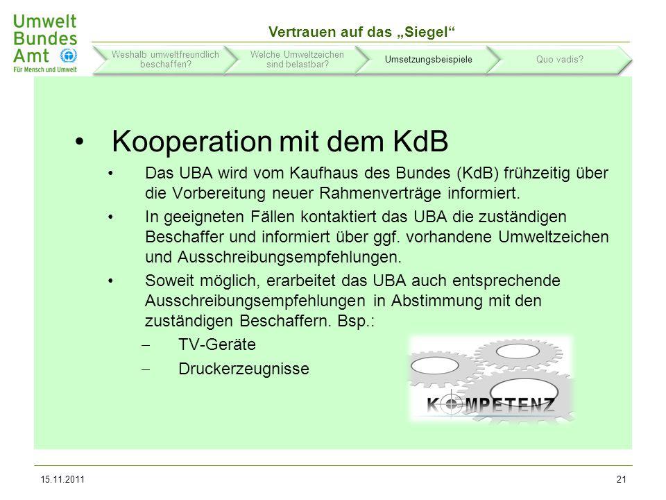 Vertrauen auf das Siegel 15.11.201122 Weshalb umweltfreundlich beschaffen.
