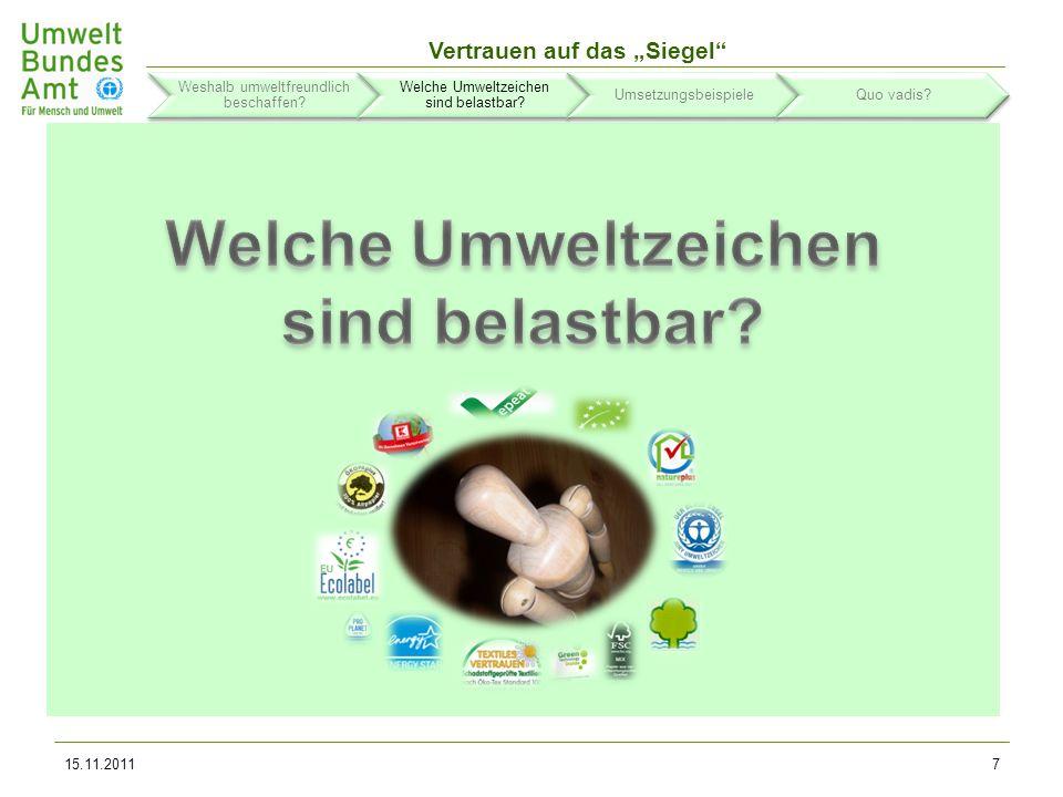Vertrauen auf das Siegel 15.11.20118 Weshalb umweltfreundlich beschaffen.