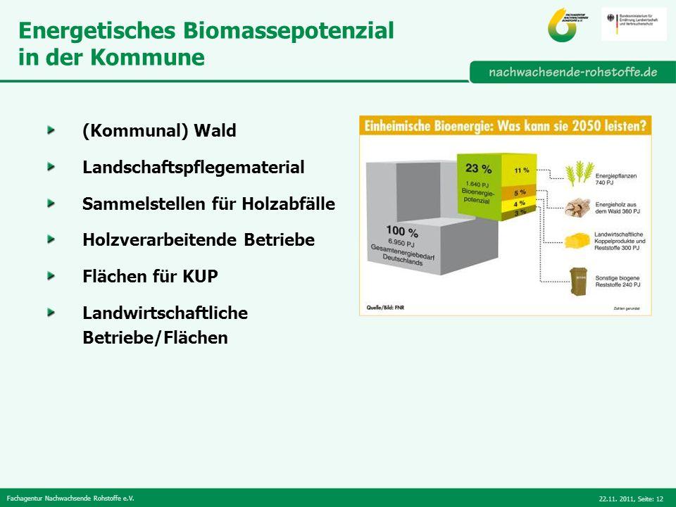 Fachagentur Nachwachsende Rohstoffe e.V. 22.11. 2011,Seite: 12 Energetisches Biomassepotenzial in der Kommune (Kommunal) Wald Landschaftspflegemateria