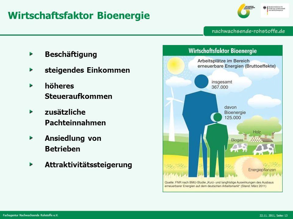 Fachagentur Nachwachsende Rohstoffe e.V. 22.11. 2011,Seite: 13 Wirtschaftsfaktor Bioenergie Beschäftigung steigendes Einkommen höheres Steueraufkommen