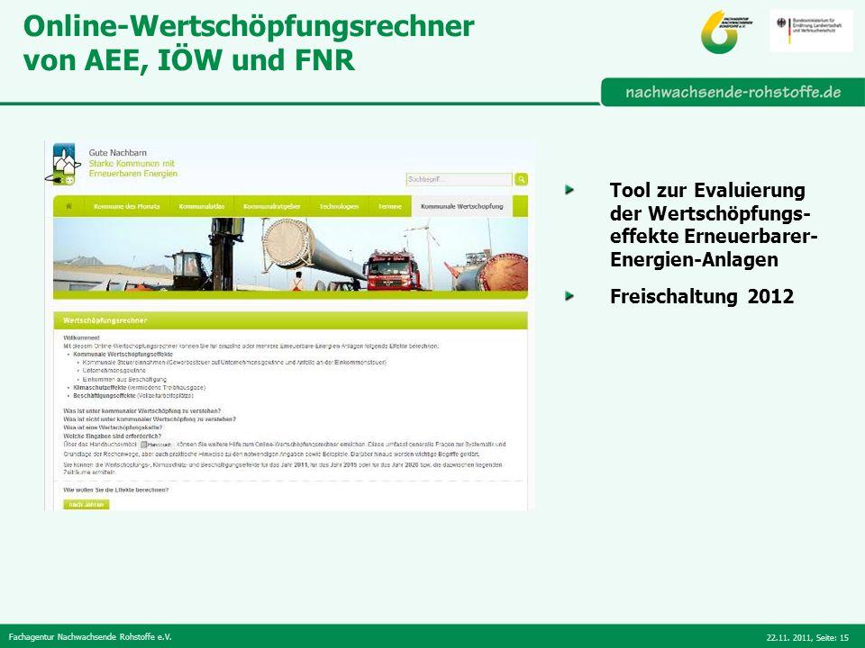 Fachagentur Nachwachsende Rohstoffe e.V. 22.11. 2011,Seite: 15 Online-Wertschöpfungsrechner von AEE, IÖW und FNR Tool zur Evaluierung der Wertschöpfun