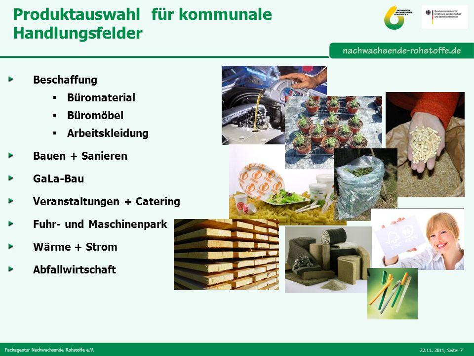 Fachagentur Nachwachsende Rohstoffe e.V. 22.11. 2011,Seite: 7 Produktauswahl für kommunale Handlungsfelder Beschaffung Büromaterial Büromöbel Arbeitsk