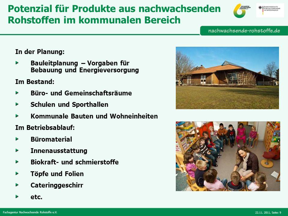 Fachagentur Nachwachsende Rohstoffe e.V. 22.11. 2011,Seite: 9 Potenzial für Produkte aus nachwachsenden Rohstoffen im kommunalen Bereich In der Planun